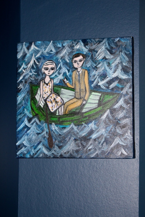 Lydia and Clive enter troubled waters. Original oil painting by Vivienne Strauss.